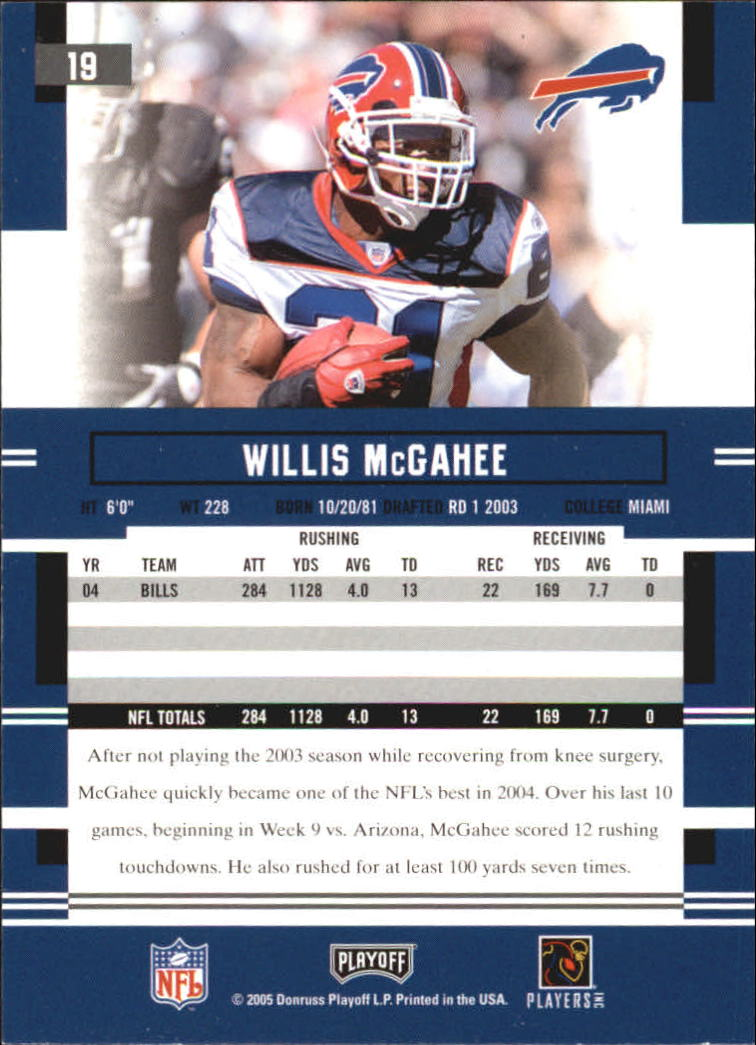 2005 Playoff Prestige #19 Willis McGahee back image