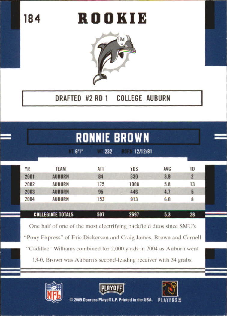 2005 Playoff Prestige #184 Ronnie Brown RC back image