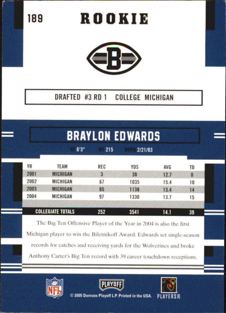 2005 Playoff Prestige #189 Braylon Edwards RC back image