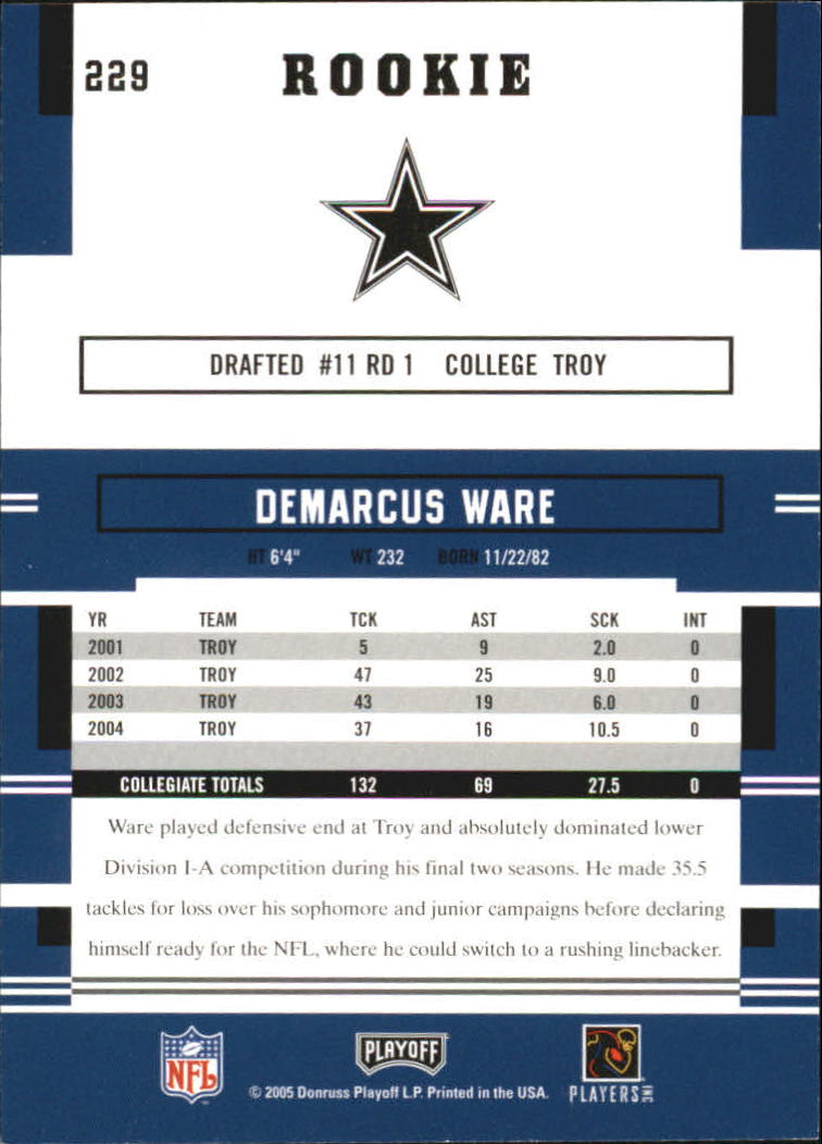 2005 Playoff Prestige #229 DeMarcus Ware RC back image