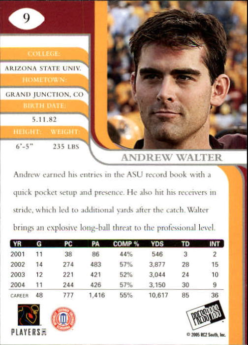 2005 Press Pass SE #9 Andrew Walter back image