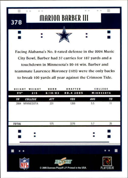 2005 Score #378 Marion Barber RC back image