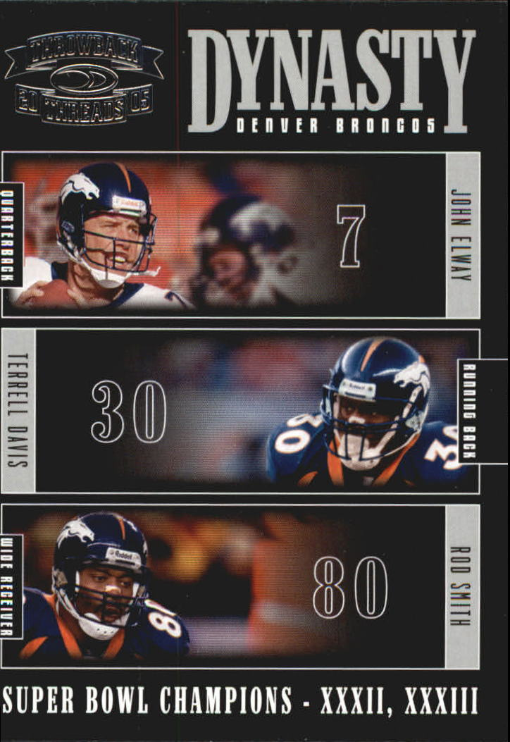 2005 Throwback Threads Dynasty #4 John Elway/Terrell Davis/Rod Smith