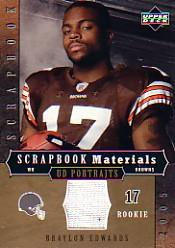 2005 UD Portraits Scrapbook Materials #SBBE Braylon Edwards