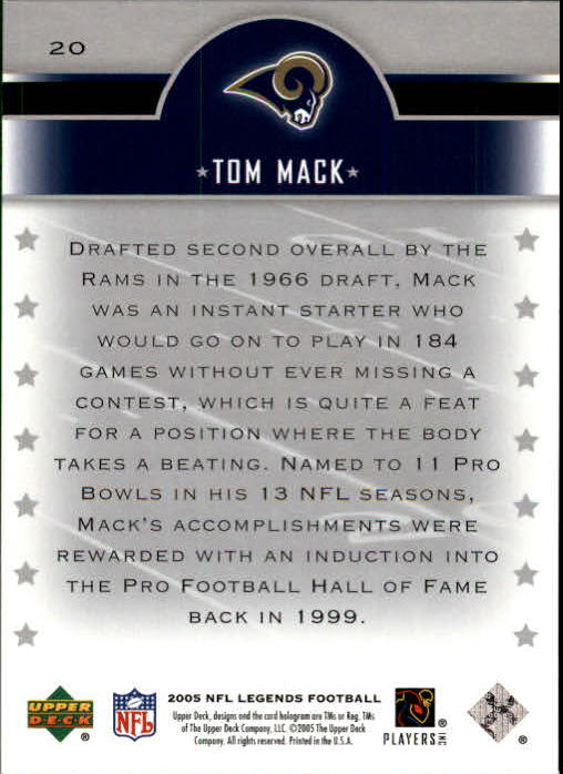 2005 Upper Deck Legends #20 Tom Mack back image