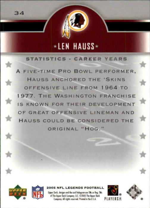 2005 Upper Deck Legends #34 Len Hauss back image