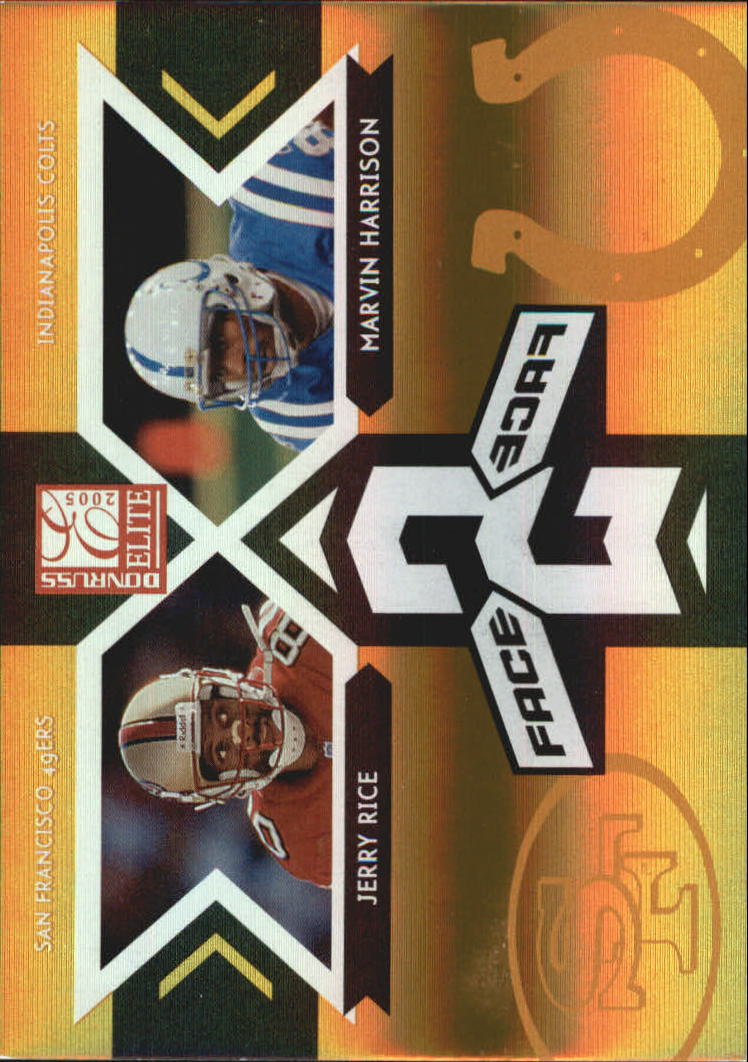 2005 Donruss Elite Face 2 Face Gold #CB15 Jerry Rice/Marvin Harrison front image