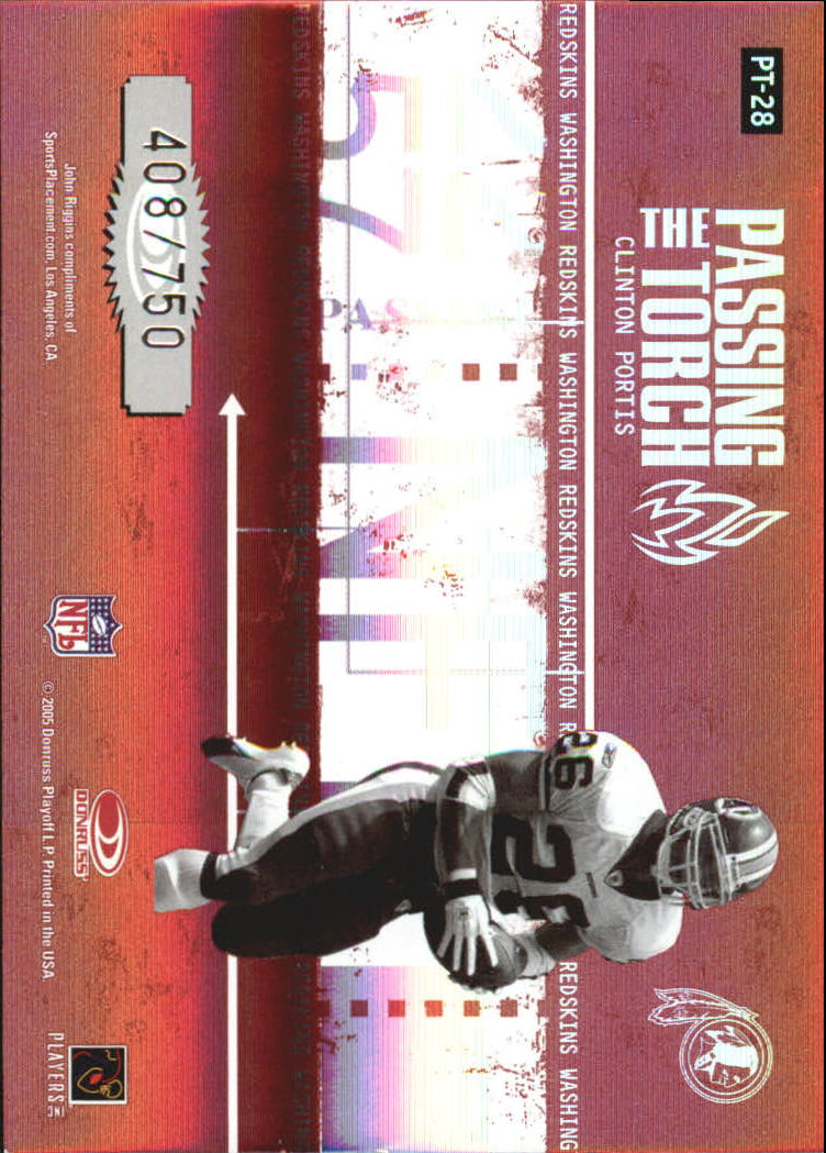 2005 Donruss Elite Passing the Torch Red #PT28 John Riggins/Clinton Portis back image