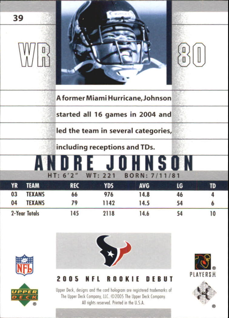 2005 Upper Deck Rookie Debut #39 Andre Johnson back image