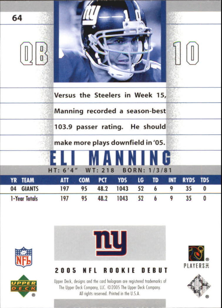 2005 Upper Deck Rookie Debut #64 Eli Manning back image