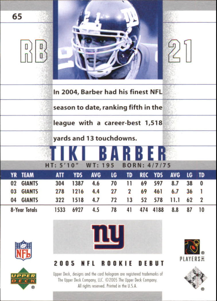 2005 Upper Deck Rookie Debut #65 Tiki Barber back image