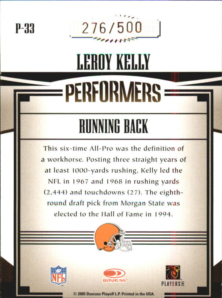 2005 Donruss Gridiron Gear Performers Gold #33 Leroy Kelly back image