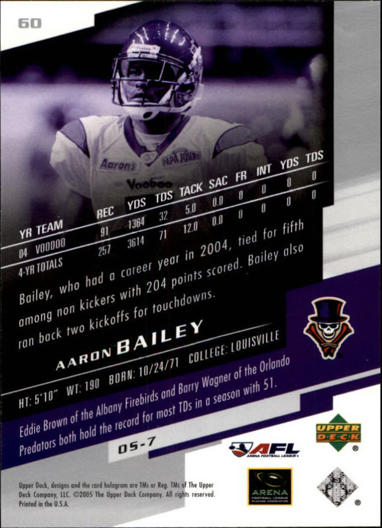 2005 Upper Deck AFL #60 Aaron Bailey