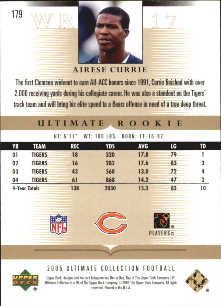 2005 Ultimate Collection #179 Airese Currie RC