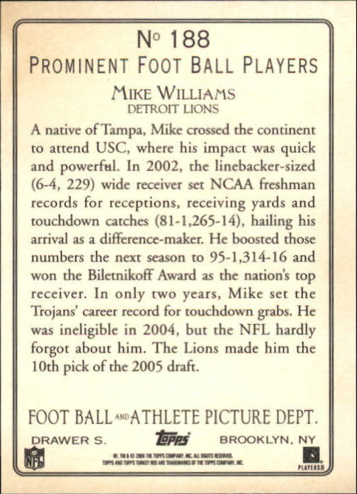 2005 Topps Turkey Red #188 Mike Williams back image