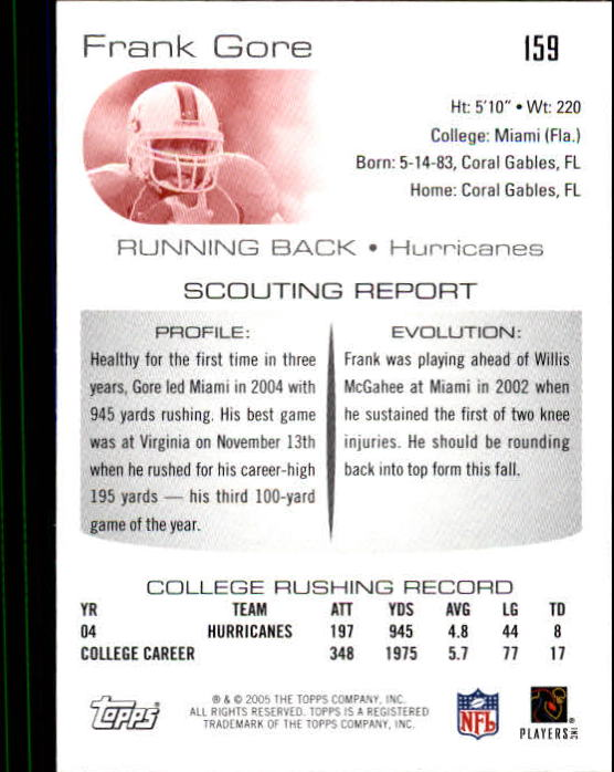 2005 Topps Draft Picks and Prospects #159 Frank Gore RC back image