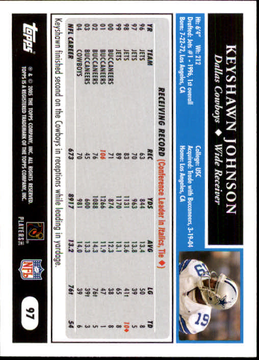 2005 Topps #97 Keyshawn Johnson back image