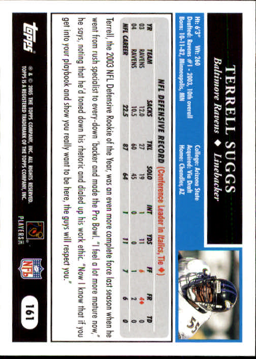 2005 Topps #161 Terrell Suggs back image