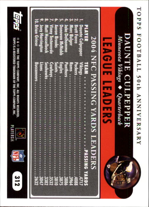 2005-Topps-Football-256-440-Your-Choice-GOTBASEBALLCARDS