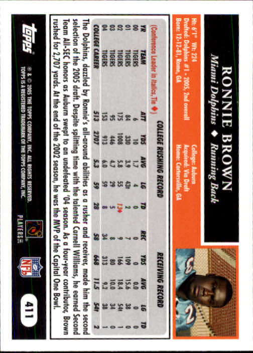 2005 Topps #411 Ronnie Brown RC back image