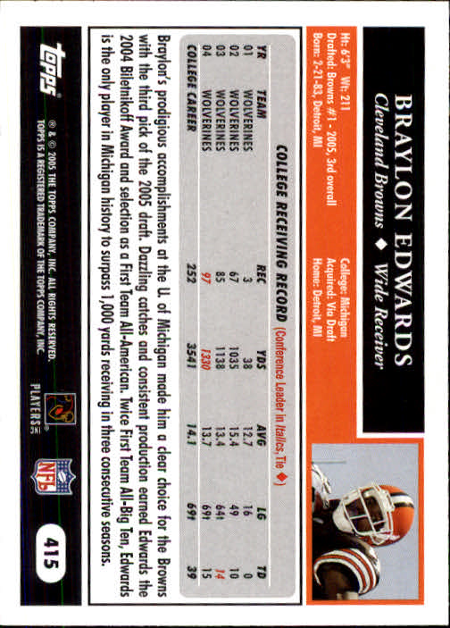2005 Topps #415 Braylon Edwards RC back image