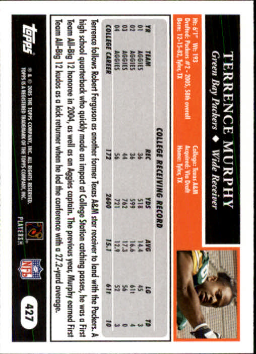 2005 Topps #427 Terrence Murphy RC back image