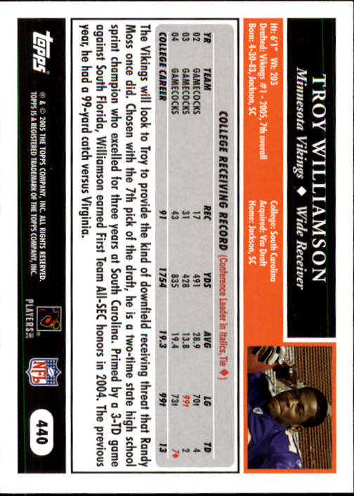 2005 Topps #440 Troy Williamson RC back image