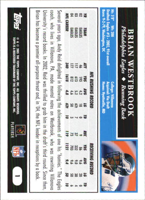 2005 Topps First Edition #1 Brian Westbrook back image