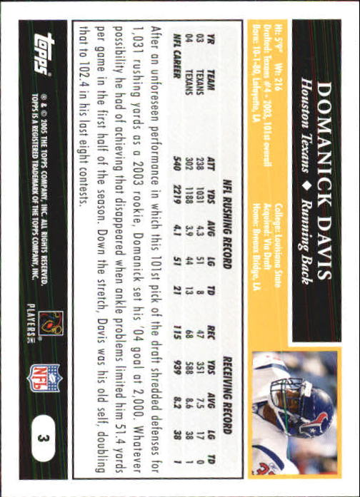 2005 Topps First Edition #3 Domanick Davis back image