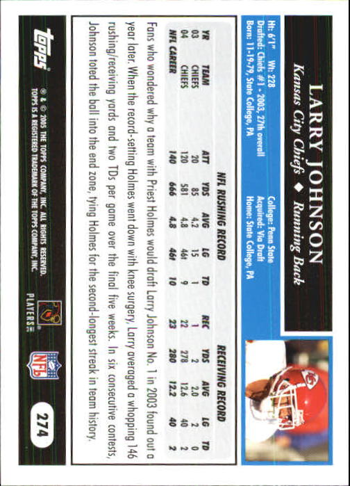 2005 Topps First Edition #274 Larry Johnson back image