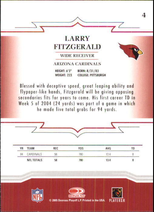 2005 Throwback Threads #4 Larry Fitzgerald back image