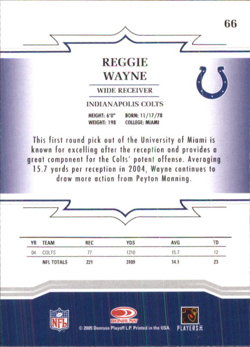 2005 Throwback Threads #66 Reggie Wayne back image