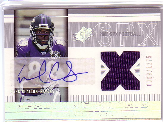 2005 SPx #210 Mark Clayton JSY AU RC
