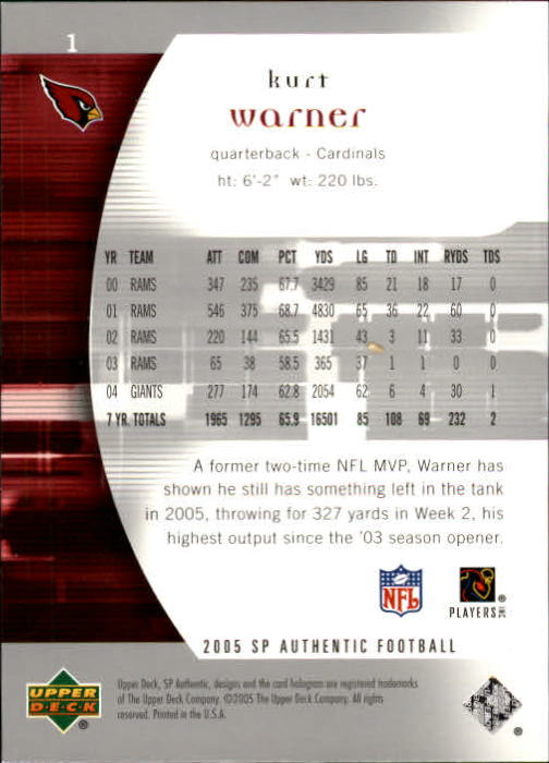 2005 SP Authentic #1 Kurt Warner back image