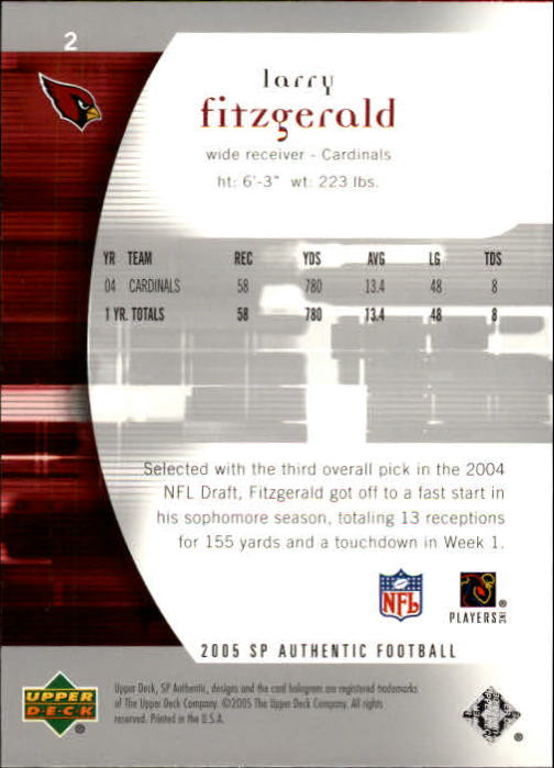 2005 SP Authentic #2 Larry Fitzgerald back image