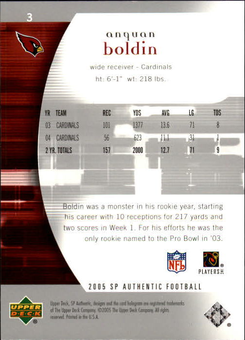 2005 SP Authentic #3 Anquan Boldin back image