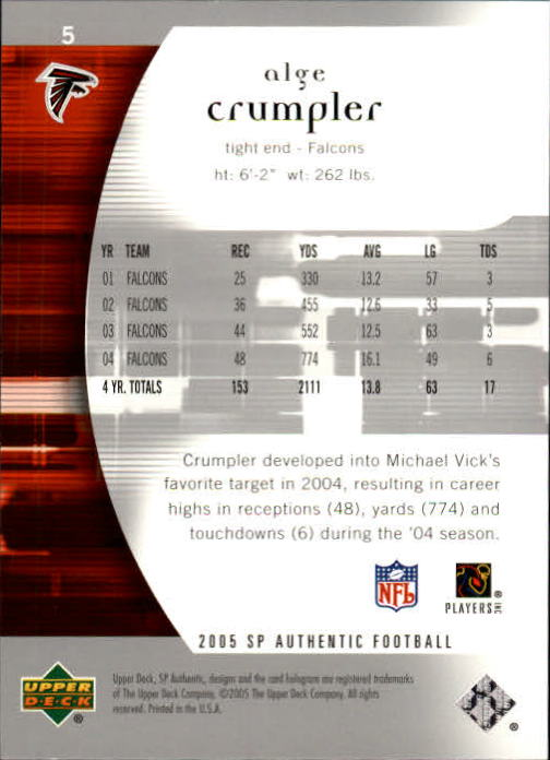 2005 SP Authentic #5 Alge Crumpler back image