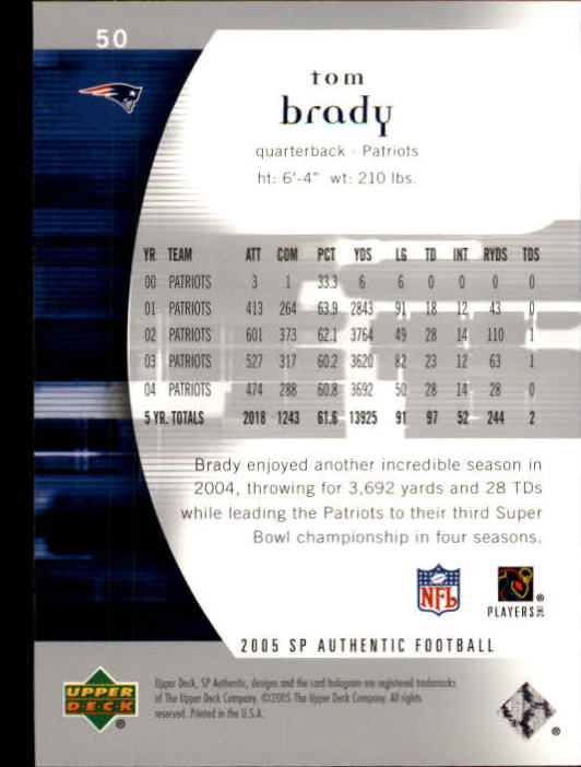 2005 SP Authentic #50 Tom Brady back image