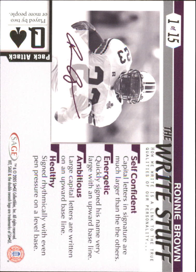 2005 SAGE HIT Write Stuff #1 Ronnie Brown back image
