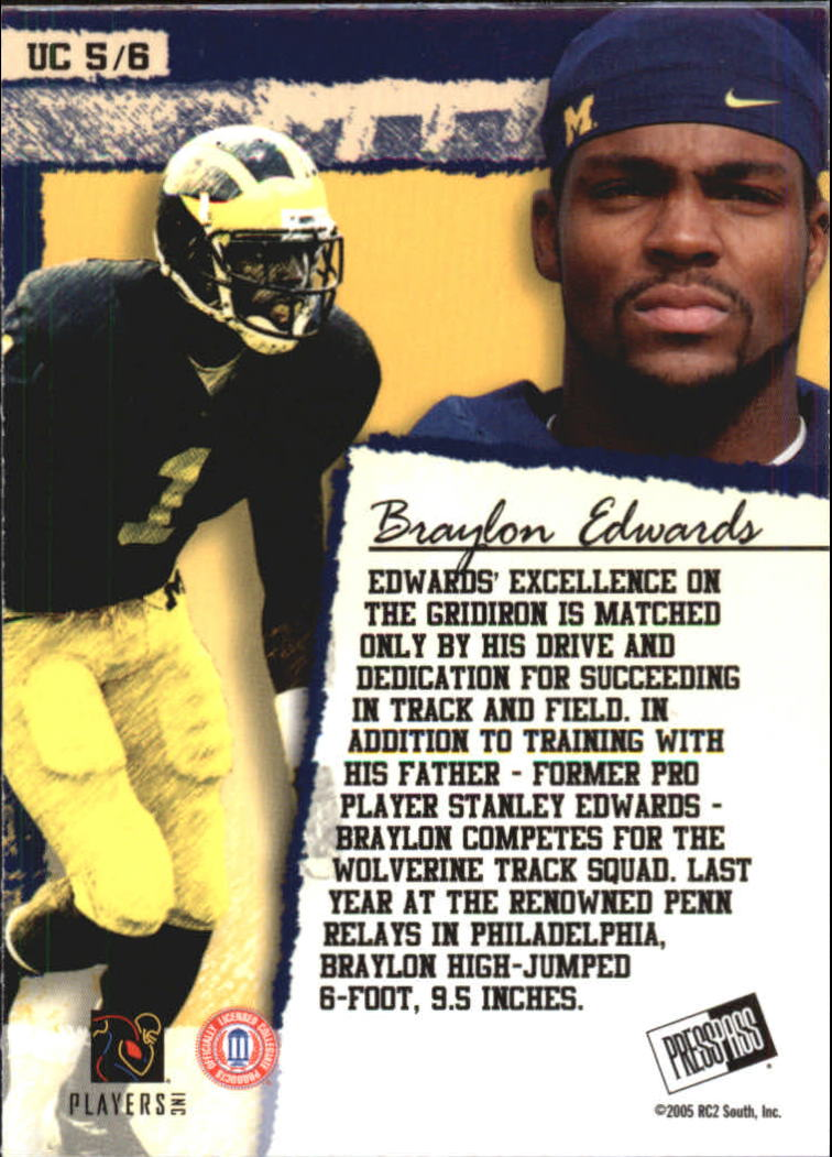 2005 Press Pass SE Up Close #UC5 Braylon Edwards back image