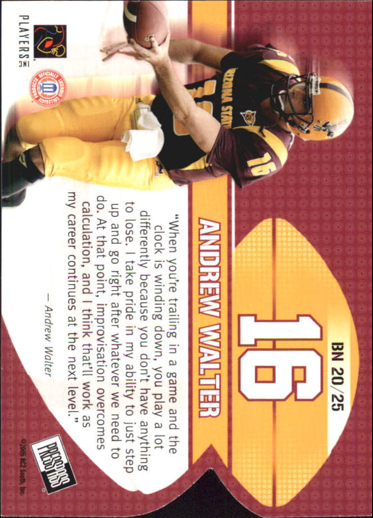 2005 Press Pass Big Numbers #BN20 Andrew Walter back image