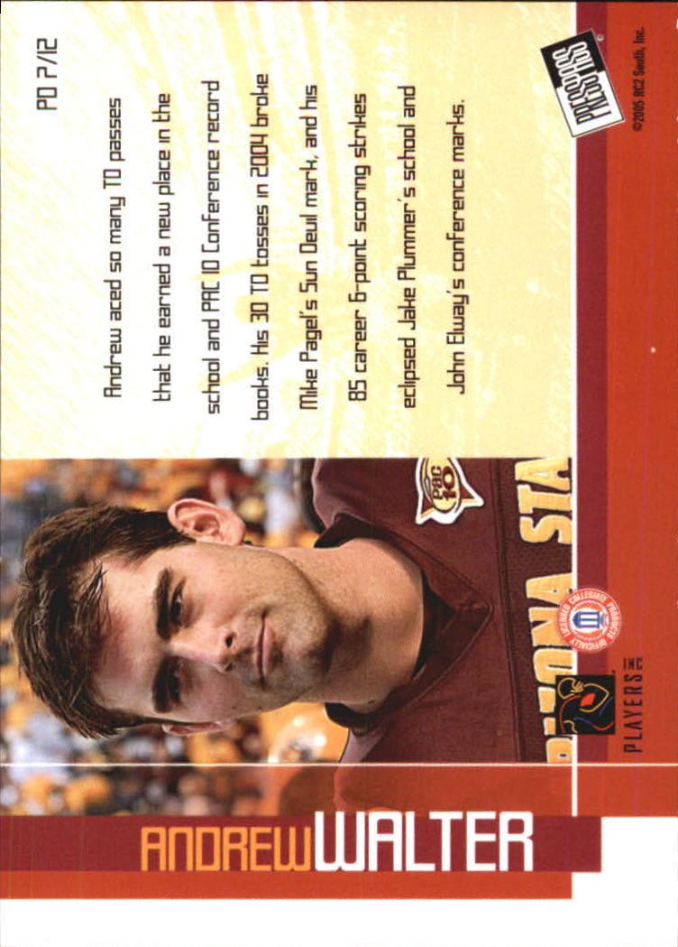 2005 Press Pass Paydirt #PD7 Andrew Walter back image