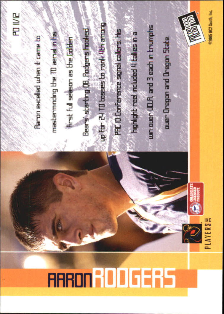 2005 Press Pass Paydirt #PD11 Aaron Rodgers back image