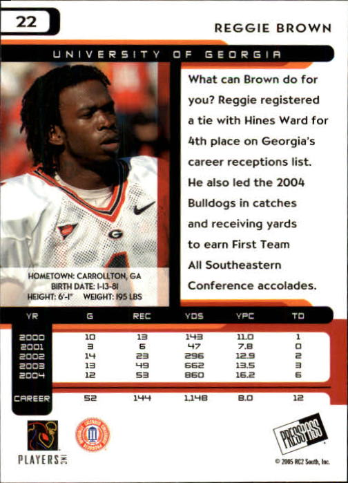 2005 Press Pass #22 Reggie Brown back image