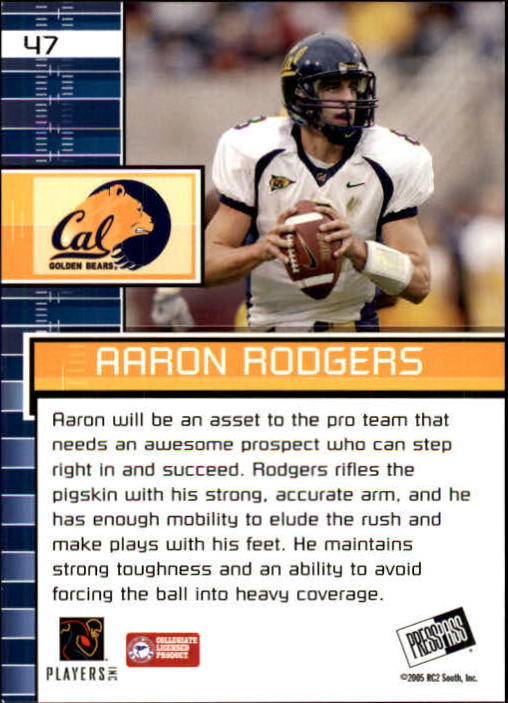 2005 Press Pass #47 Aaron Rodgers PP back image