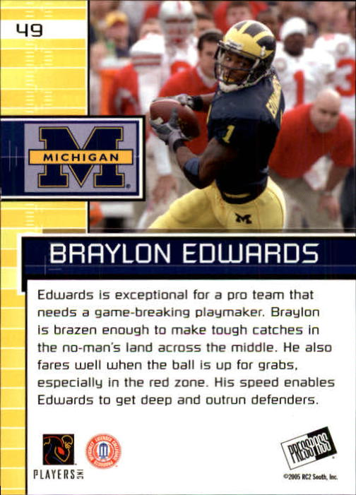 2005 Press Pass #49 Braylon Edwards PP back image