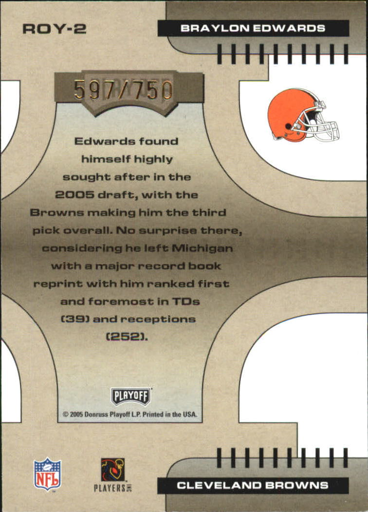 2005 Playoff Contenders ROY Contenders Gold #2 Braylon Edwards back image