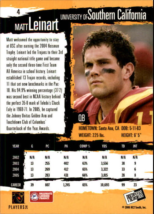 2006 Press Pass #4 Matt Leinart back image