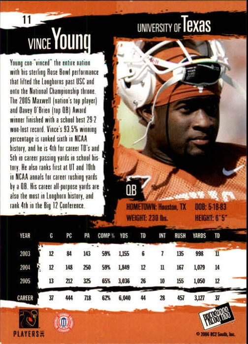 2006 Press Pass #11 Vince Young back image