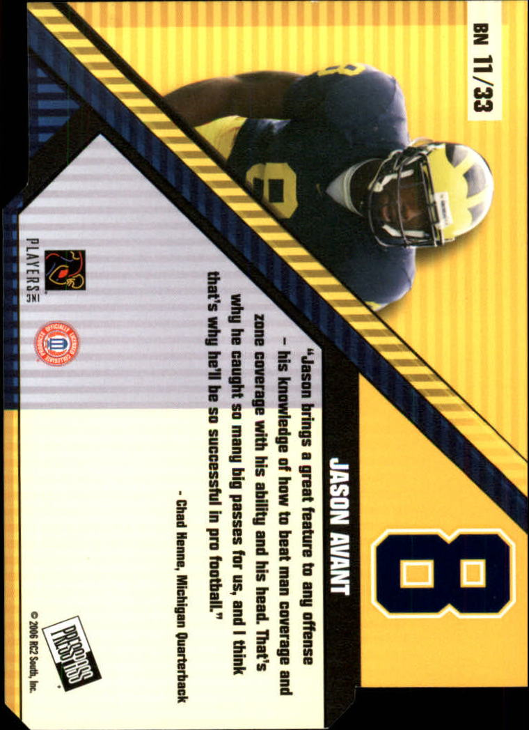2006 Press Pass Big Numbers #BN11 Jason Avant back image